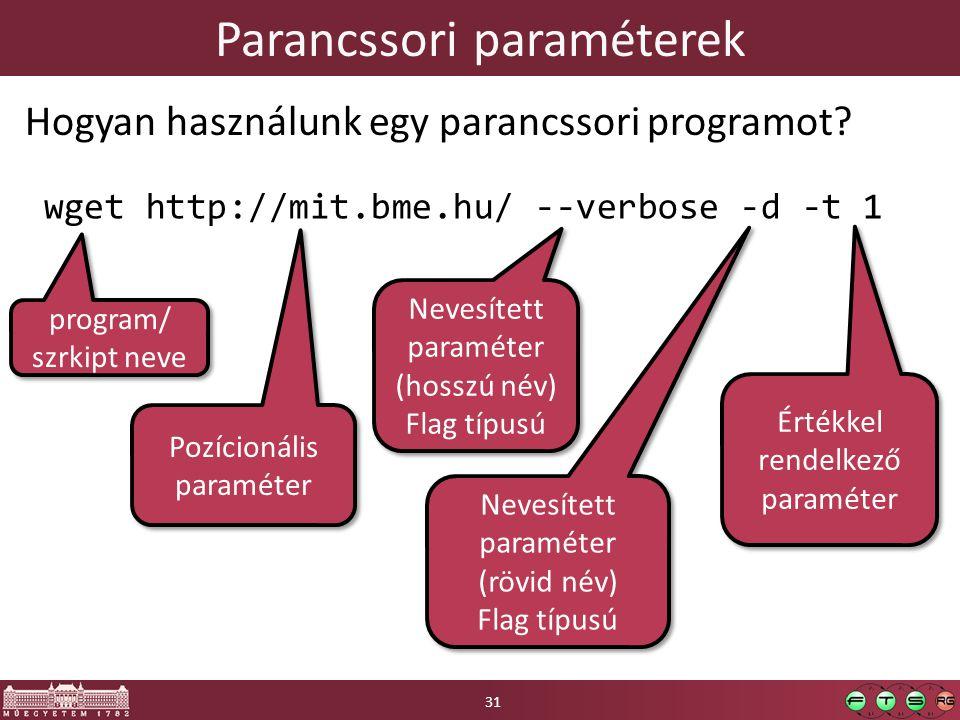 Parancssori paraméterek Hogyan használunk egy parancssori programot.
