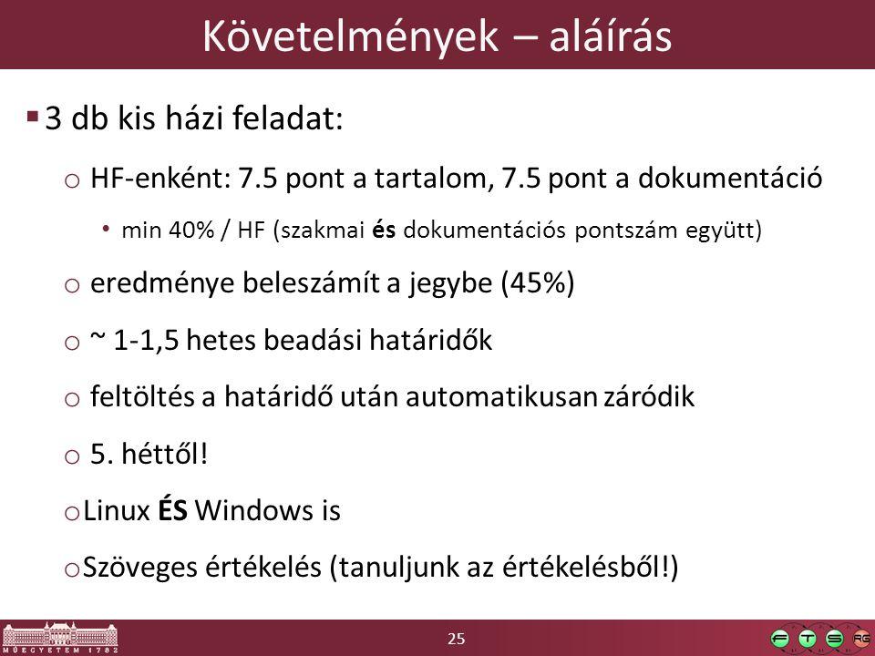 25 Követelmények – aláírás  3 db kis házi feladat: o HF-enként: 7.5 pont a tartalom, 7.5 pont a dokumentáció min 40% / HF (szakmai és dokumentációs pontszám együtt) o eredménye beleszámít a jegybe (45%) o ~ 1-1,5 hetes beadási határidők o feltöltés a határidő után automatikusan záródik o 5.