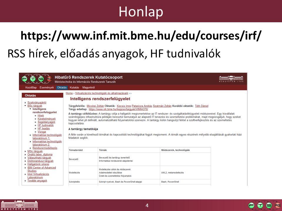 4 Honlap https://www.inf.mit.bme.hu/edu/courses/irf/ RSS hírek, előadás anyagok, HF tudnivalók