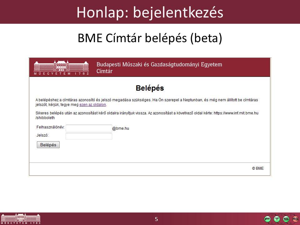 5 Honlap: bejelentkezés BME Címtár belépés (beta)