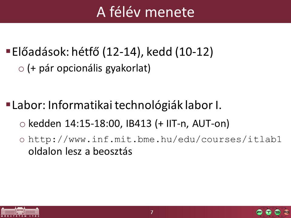 7 A félév menete  Előadások: hétfő (12-14), kedd (10-12) o (+ pár opcionális gyakorlat)  Labor: Informatikai technológiák labor I.