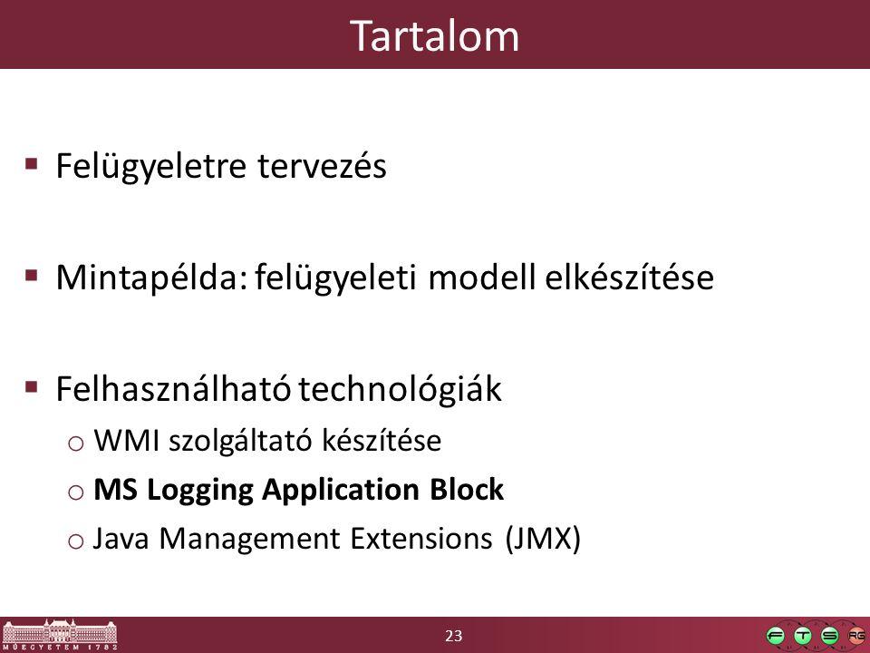 23 Tartalom  Felügyeletre tervezés  Mintapélda: felügyeleti modell elkészítése  Felhasználható technológiák o WMI szolgáltató készítése o MS Logging Application Block o Java Management Extensions (JMX)
