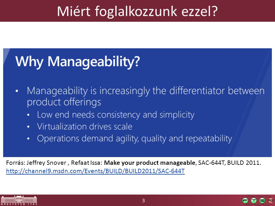 3 Miért foglalkozzunk ezzel? Forrás: Jeffrey Snover, Refaat Issa: Make your product manageable, SAC-644T, BUILD 2011. http://channel9.msdn.com/Events/