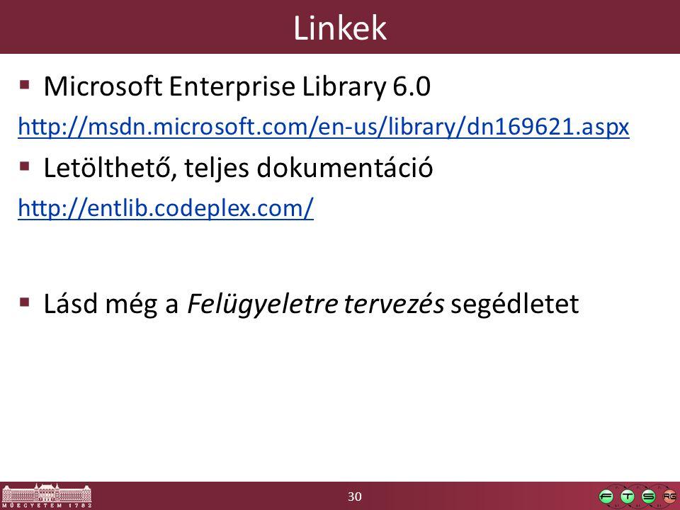 30 Linkek  Microsoft Enterprise Library 6.0 http://msdn.microsoft.com/en-us/library/dn169621.aspx  Letölthető, teljes dokumentáció http://entlib.codeplex.com/  Lásd még a Felügyeletre tervezés segédletet