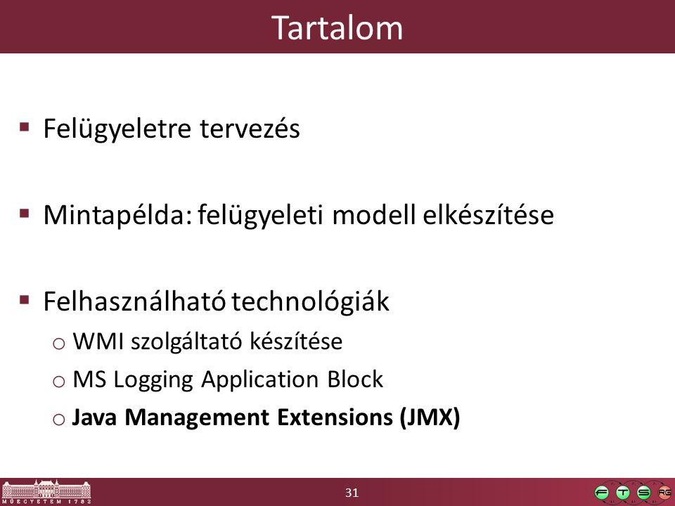 31 Tartalom  Felügyeletre tervezés  Mintapélda: felügyeleti modell elkészítése  Felhasználható technológiák o WMI szolgáltató készítése o MS Logging Application Block o Java Management Extensions (JMX)