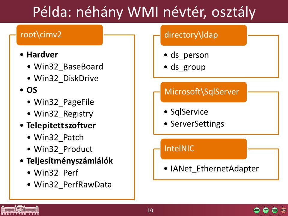 10 Példa: néhány WMI névtér, osztály Hardver Win32_BaseBoard Win32_DiskDrive OS Win32_PageFile Win32_Registry Telepített szoftver Win32_Patch Win32_Pr