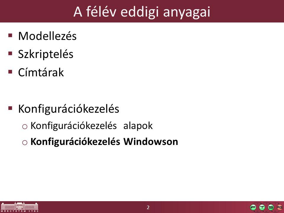 2 A félév eddigi anyagai  Modellezés  Szkriptelés  Címtárak  Konfigurációkezelés o Konfigurációkezelés alapok o Konfigurációkezelés Windowson