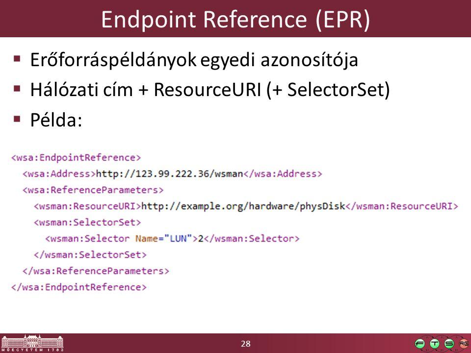 28 Endpoint Reference (EPR)  Erőforráspéldányok egyedi azonosítója  Hálózati cím + ResourceURI (+ SelectorSet)  Példa: