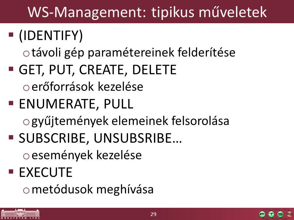 29 WS-Management: tipikus műveletek  (IDENTIFY) o távoli gép paramétereinek felderítése  GET, PUT, CREATE, DELETE o erőforrások kezelése  ENUMERATE