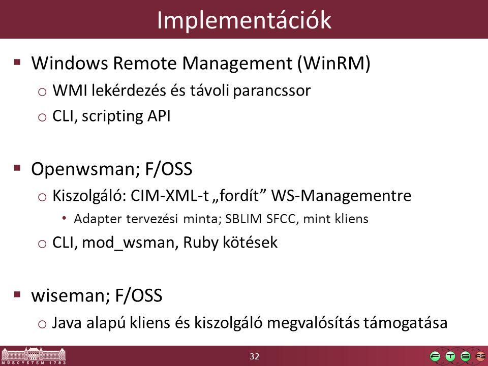 32 Implementációk  Windows Remote Management (WinRM) o WMI lekérdezés és távoli parancssor o CLI, scripting API  Openwsman; F/OSS o Kiszolgáló: CIM-