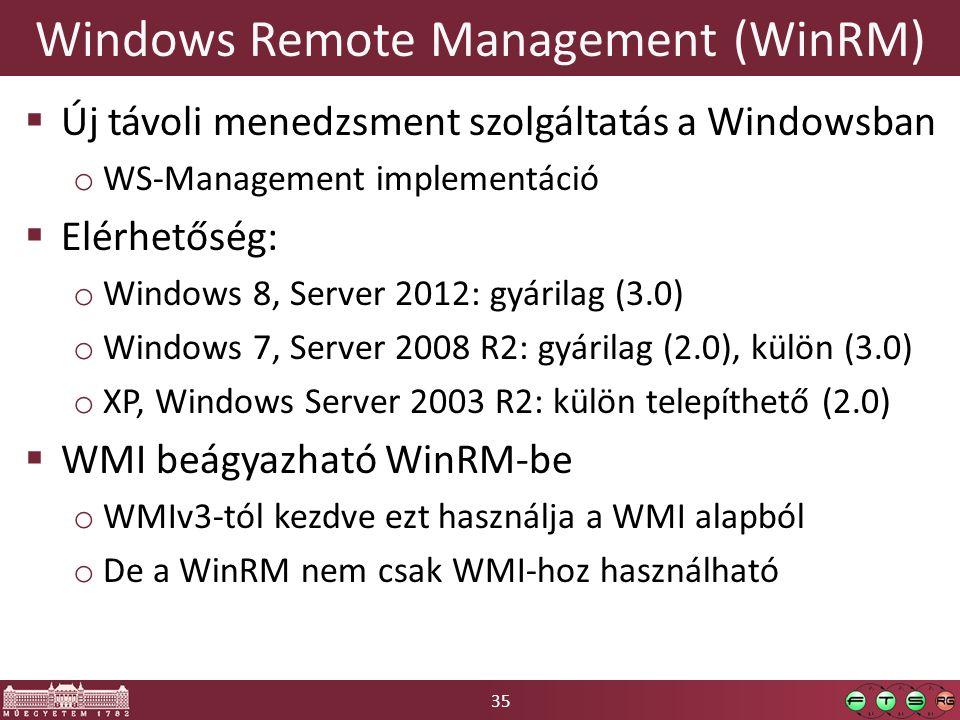 35 Windows Remote Management (WinRM)  Új távoli menedzsment szolgáltatás a Windowsban o WS-Management implementáció  Elérhetőség: o Windows 8, Serve