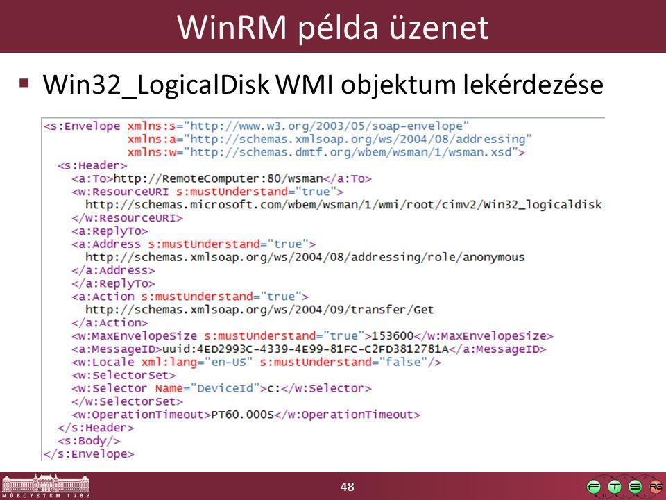 48 WinRM példa üzenet  Win32_LogicalDisk WMI objektum lekérdezése