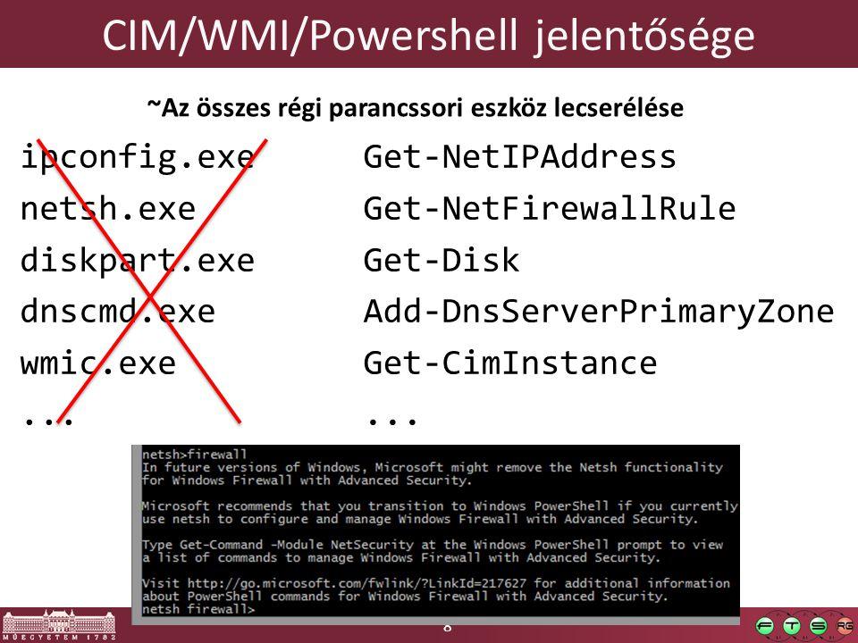 8 CIM/WMI/Powershell jelentősége ipconfig.exe netsh.exe diskpart.exe dnscmd.exe wmic.exe... Get-NetIPAddress Get-NetFirewallRule Get-Disk Add-DnsServe