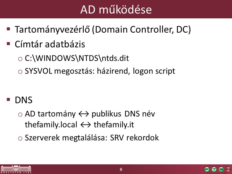 8 AD működése  Tartományvezérlő (Domain Controller, DC)  Címtár adatbázis o C:\WINDOWS\NTDS\ntds.dit o SYSVOL megosztás: házirend, logon script  DN