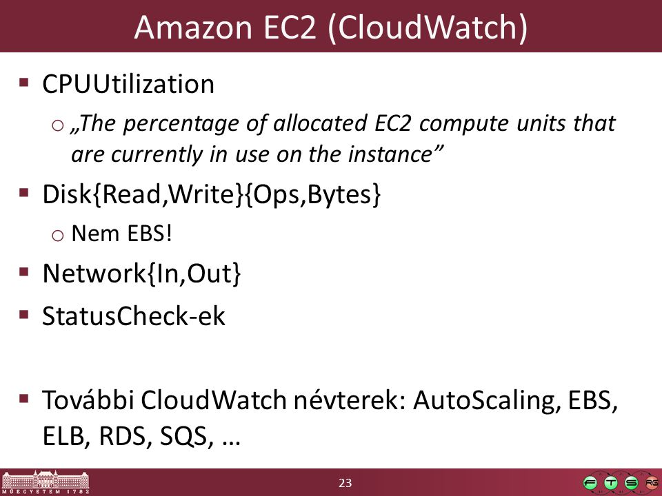 "23 Amazon EC2 (CloudWatch)  CPUUtilization o ""The percentage of allocated EC2 compute units that are currently in use on the instance  Disk{Read,Write}{Ops,Bytes} o Nem EBS."