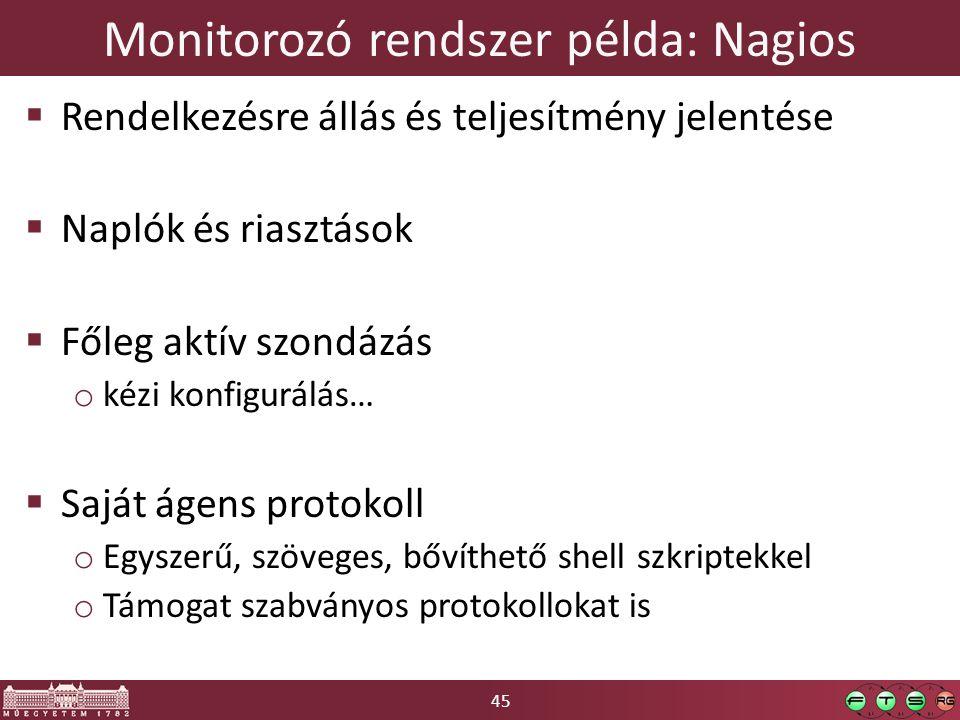 45 Monitorozó rendszer példa: Nagios  Rendelkezésre állás és teljesítmény jelentése  Naplók és riasztások  Főleg aktív szondázás o kézi konfigurálás…  Saját ágens protokoll o Egyszerű, szöveges, bővíthető shell szkriptekkel o Támogat szabványos protokollokat is