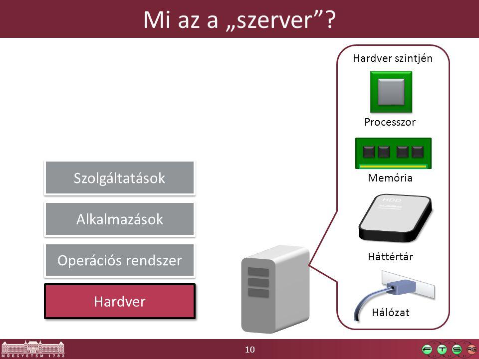 """10 Mi az a """"szerver""""? Processzor Memória Háttértár Hardver szintjén Hardver Operációs rendszer Alkalmazások Hálózat Szolgáltatások"""
