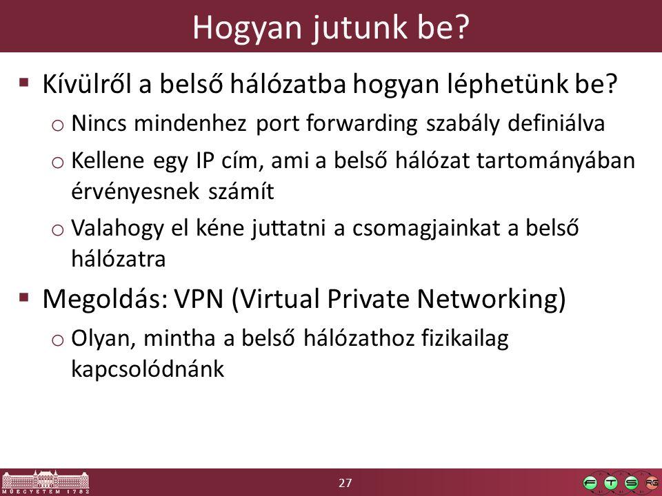 27 Hogyan jutunk be?  Kívülről a belső hálózatba hogyan léphetünk be? o Nincs mindenhez port forwarding szabály definiálva o Kellene egy IP cím, ami