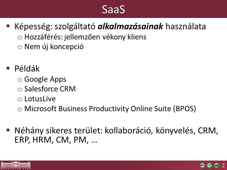 SaaS  Képesség: szolgáltató alkalmazásainak használata o Hozzáférés: jellemzően vékony kliens o Nem új koncepció  Példák o Google Apps o Salesforce