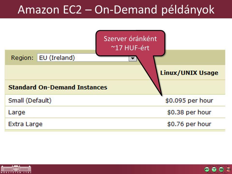 Amazon EC2 – On-Demand példányok Szerver óránként ~17 HUF-ért