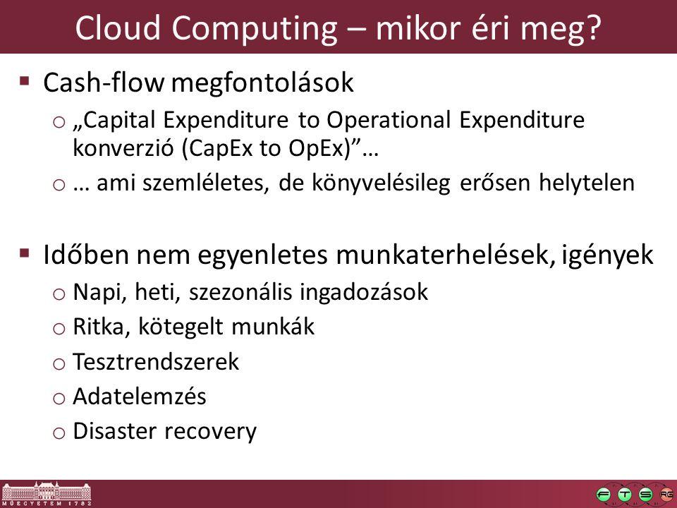 "Cloud Computing – mikor éri meg?  Cash-flow megfontolások o ""Capital Expenditure to Operational Expenditure konverzió (CapEx to OpEx)""… o … ami szeml"