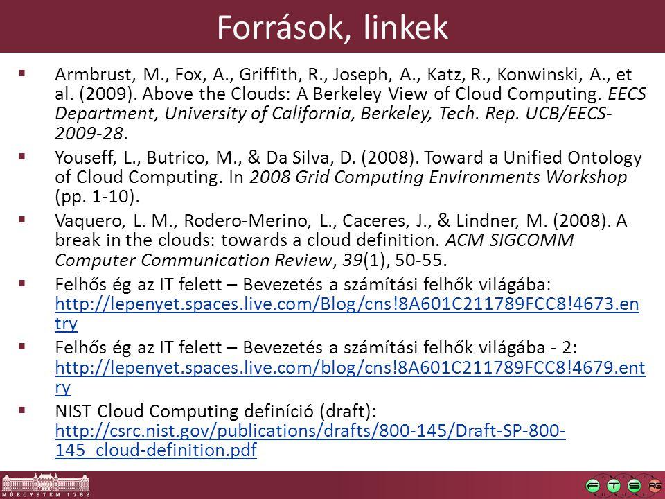 Források, linkek  Armbrust, M., Fox, A., Griffith, R., Joseph, A., Katz, R., Konwinski, A., et al. (2009). Above the Clouds: A Berkeley View of Cloud