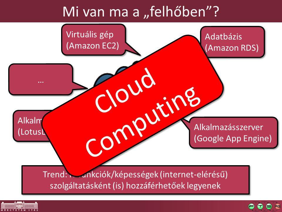 """Mi van ma a """"felhőben""""? Virtuális gép (Amazon EC2) Virtuális gép (Amazon EC2) Alkalmazásszerver (Google App Engine) Alkalmazásszerver (Google App Engi"""