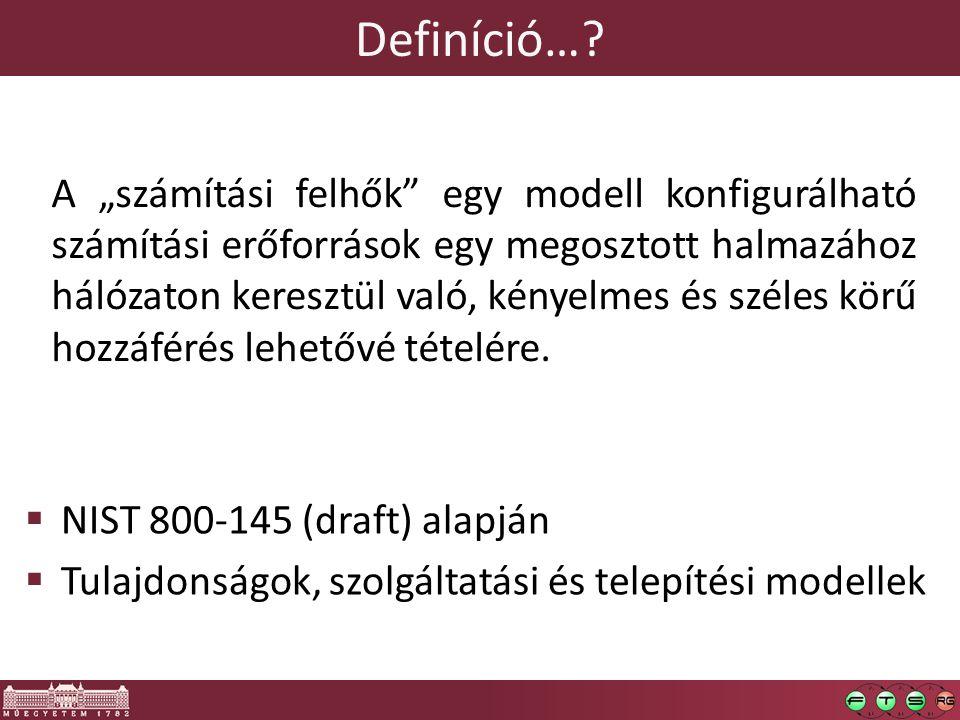 """Definíció…?  NIST 800-145 (draft) alapján  Tulajdonságok, szolgáltatási és telepítési modellek A """"számítási felhők"""" egy modell konfigurálható számít"""