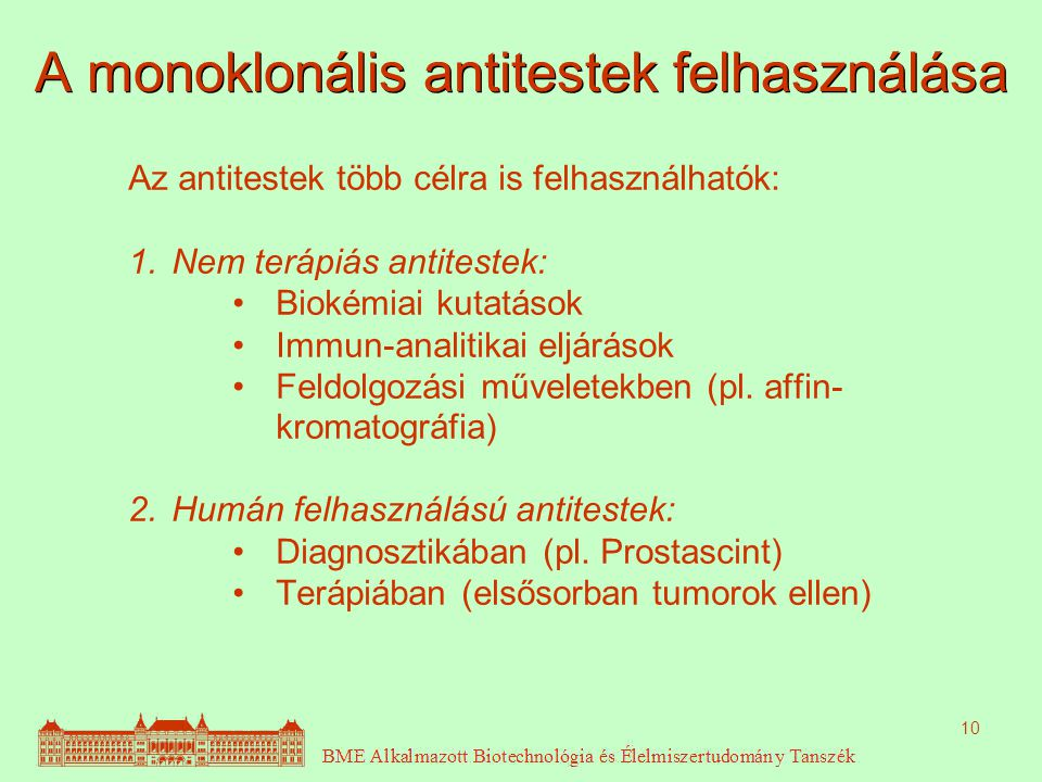 10 A monoklonális antitestek felhasználása Az antitestek több célra is felhasználhatók: 1.Nem terápiás antitestek: Biokémiai kutatások Immun-analitikai eljárások Feldolgozási műveletekben (pl.