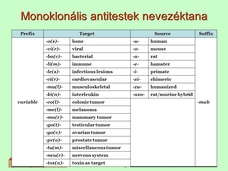 16 Monoklonális antitestek nevezéktana PrefixTargetSourceSuffix variable -o(s)-bone-u-human -mab -vi(r)-viral-o-mouse -ba(c)-bacterial-a-rat -li(m)-immune-e-hamster -le(s)-infectious lesions-i-primate -ci(r)-cardiovascular-xi-chimeric -mu(l)-musculoskeletal-zu-humanized -ki(n)-interleukin-axo-rat/murine hybrid -co(l)-colonic tumor -me(l)-melanoma -ma(r)-mammary tumor -go(t)-testicular tumor -go(v)-ovarian tumor -pr(o)-prostate tumor -tu(m)-miscellaneous tumor -neu(r)-nervous system -tox(a)-toxin as target