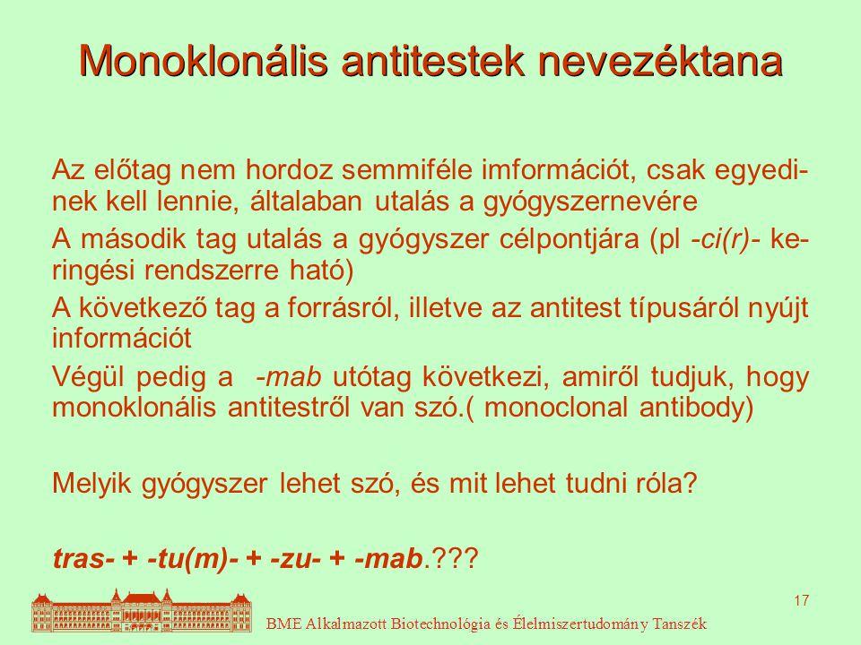 17 Monoklonális antitestek nevezéktana Az előtag nem hordoz semmiféle imformációt, csak egyedi- nek kell lennie, általaban utalás a gyógyszernevére A második tag utalás a gyógyszer célpontjára (pl -ci(r)- ke- ringési rendszerre ható) A következő tag a forrásról, illetve az antitest típusáról nyújt információt Végül pedig a -mab utótag következi, amiről tudjuk, hogy monoklonális antitestről van szó.( monoclonal antibody) Melyik gyógyszer lehet szó, és mit lehet tudni róla.