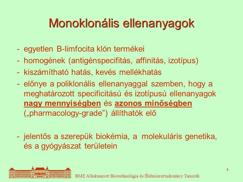 """4 Monoklonális ellenanyagok - egyetlen B-limfocita klón termékei - homogének (antigénspecifitás, affinitás, izotípus) - kiszámítható hatás, kevés mellékhatás - előnye a poliklonális ellenanyaggal szemben, hogy a meghatározott specificitású és izotípusú ellenanyagok nagy mennyiségben és azonos minőségben (""""pharmacology-grade ) állíthatók elő - jelentős a szerepük biokémia, a molekuláris genetika, és a gyógyászat területein"""