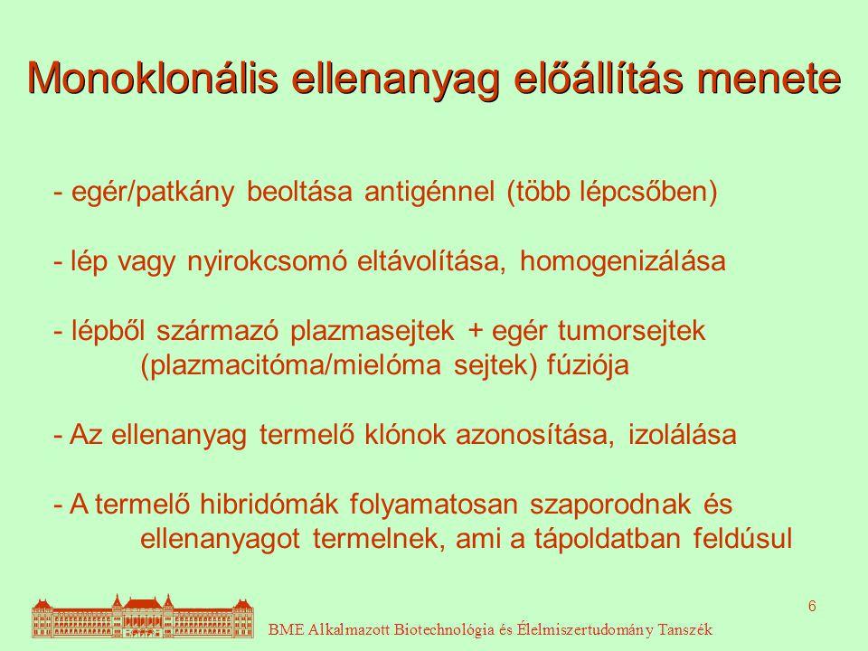 6 Monoklonális ellenanyag előállítás menete - egér/patkány beoltása antigénnel (több lépcsőben) - lép vagy nyirokcsomó eltávolítása, homogenizálása - lépből származó plazmasejtek + egér tumorsejtek (plazmacitóma/mielóma sejtek) fúziója - Az ellenanyag termelő klónok azonosítása, izolálása - A termelő hibridómák folyamatosan szaporodnak és ellenanyagot termelnek, ami a tápoldatban feldúsul