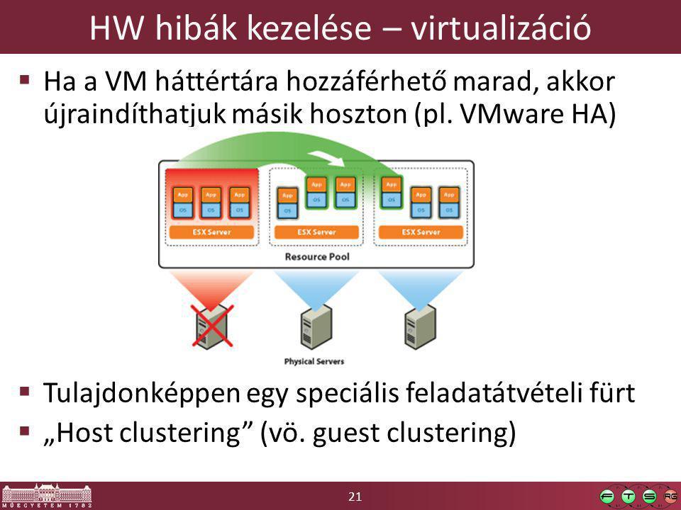 21 HW hibák kezelése – virtualizáció  Ha a VM háttértára hozzáférhető marad, akkor újraindíthatjuk másik hoszton (pl.