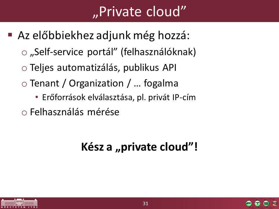 """31 """"Private cloud  Az előbbiekhez adjunk még hozzá: o """"Self-service portál (felhasználóknak) o Teljes automatizálás, publikus API o Tenant / Organization / … fogalma Erőforrások elválasztása, pl."""