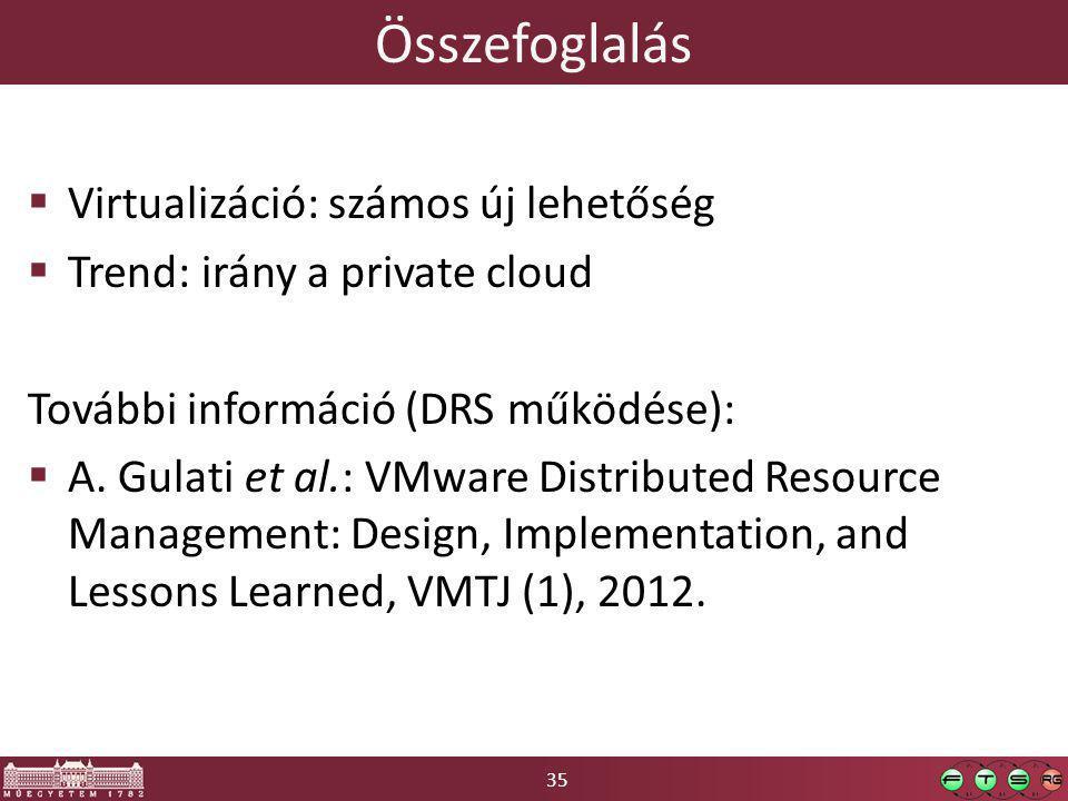 35 Összefoglalás  Virtualizáció: számos új lehetőség  Trend: irány a private cloud További információ (DRS működése):  A.