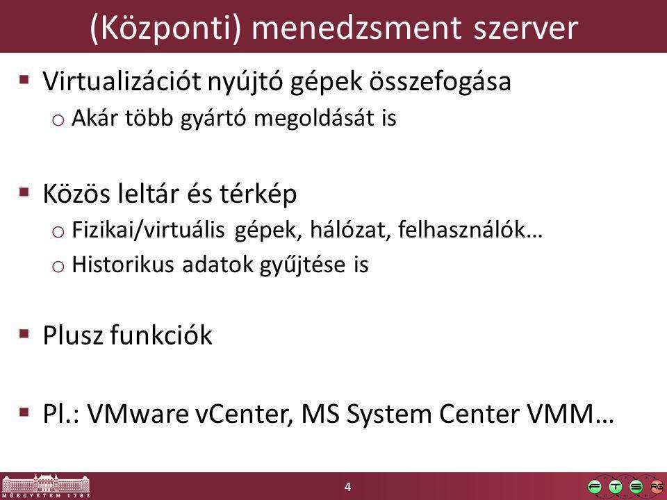 4 (Központi) menedzsment szerver  Virtualizációt nyújtó gépek összefogása o Akár több gyártó megoldását is  Közös leltár és térkép o Fizikai/virtuális gépek, hálózat, felhasználók… o Historikus adatok gyűjtése is  Plusz funkciók  Pl.: VMware vCenter, MS System Center VMM…