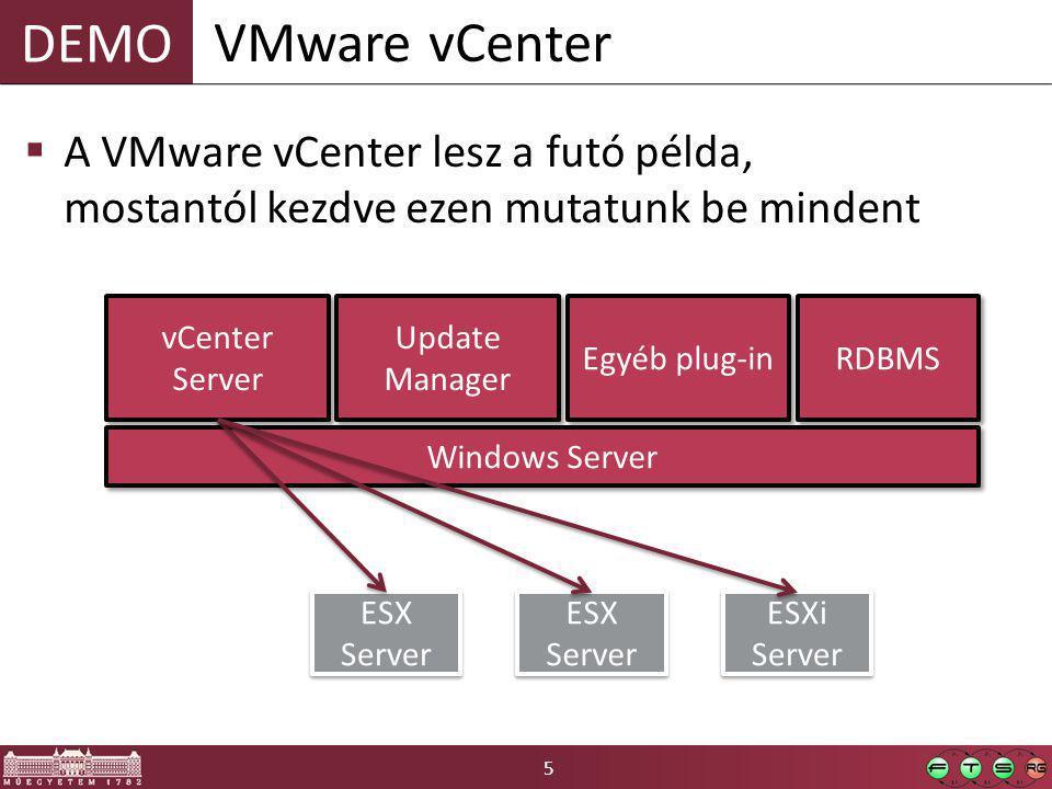 6 Távoli elérés – Protokoll  Vezérlés: o saját WebService alapú távoli API (van hozzá WSDL is a VI SDK-ban, ~1500 osztályból áll) o HTTPS felett biztosít: hitelesítés, bizalmas és sértetlen csatornát o Az ESXi és a vCenter is ugyanazt a protokollt használja o Ezen kívül újabban van WS-Mananagement (DMTF SMASH ajánlás alapján)  Konzol hozzáférés: o MKS protokoll o Valójában saját wrapperbe becsomagolt VNC o Wrapper biztosít: hitelesítés, bizalmas csatorna