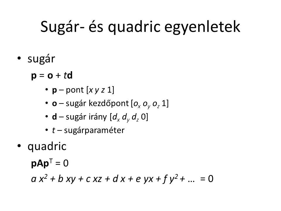 Sugár- és quadric egyenletek sugár p = o + td p – pont [x y z 1] o – sugár kezdőpont [o x o y o z 1] d – sugár irány [d x d y d z 0] t – sugárparaméter quadric pAp T = 0 a x 2 + b xy + c xz + d x + e yx + f y 2 + … = 0