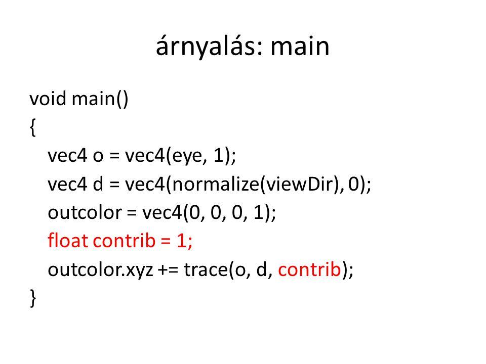 árnyalás: main void main() { vec4 o = vec4(eye, 1); vec4 d = vec4(normalize(viewDir), 0); outcolor = vec4(0, 0, 0, 1); float contrib = 1; outcolor.xyz