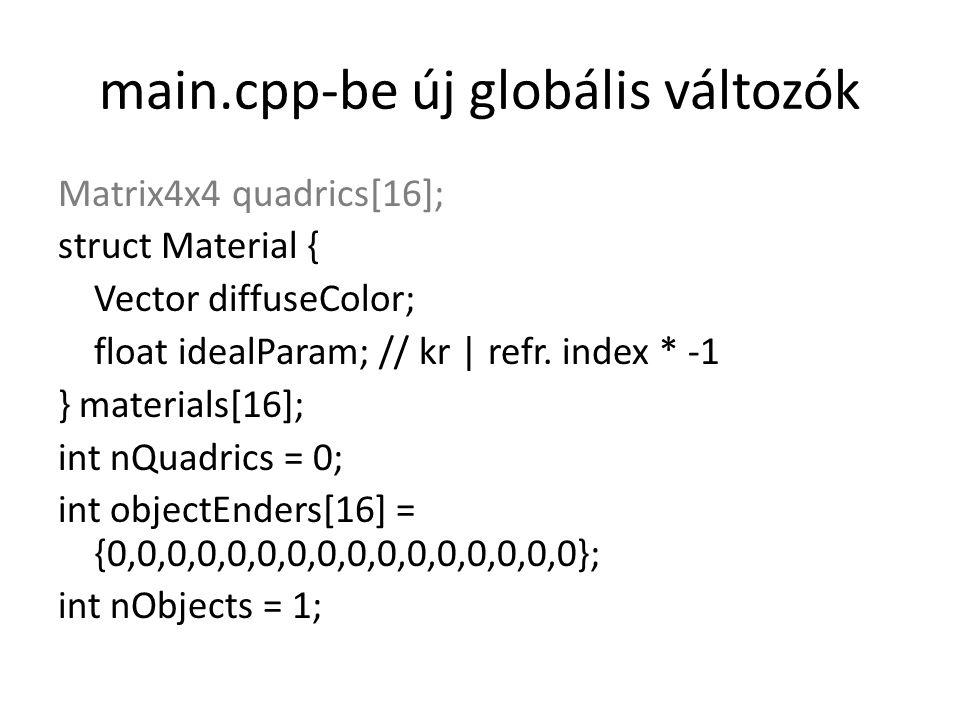 main.cpp-be új globális változók Matrix4x4 quadrics[16]; struct Material { Vector diffuseColor; float idealParam; // kr | refr. index * -1 } materials