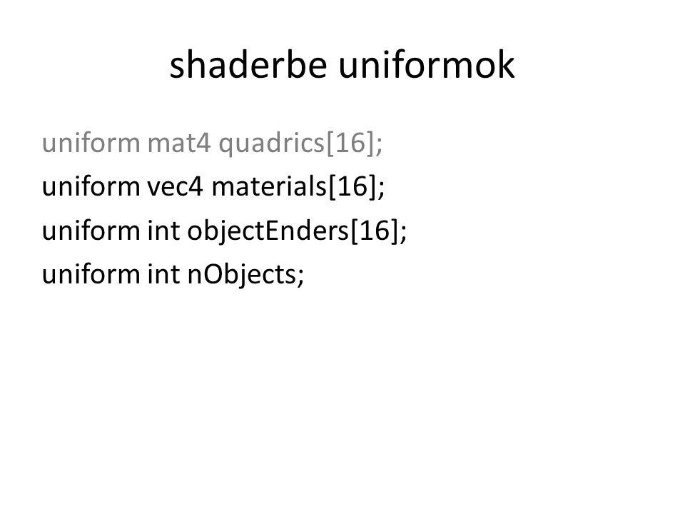 shaderbe uniformok uniform mat4 quadrics[16]; uniform vec4 materials[16]; uniform int objectEnders[16]; uniform int nObjects;