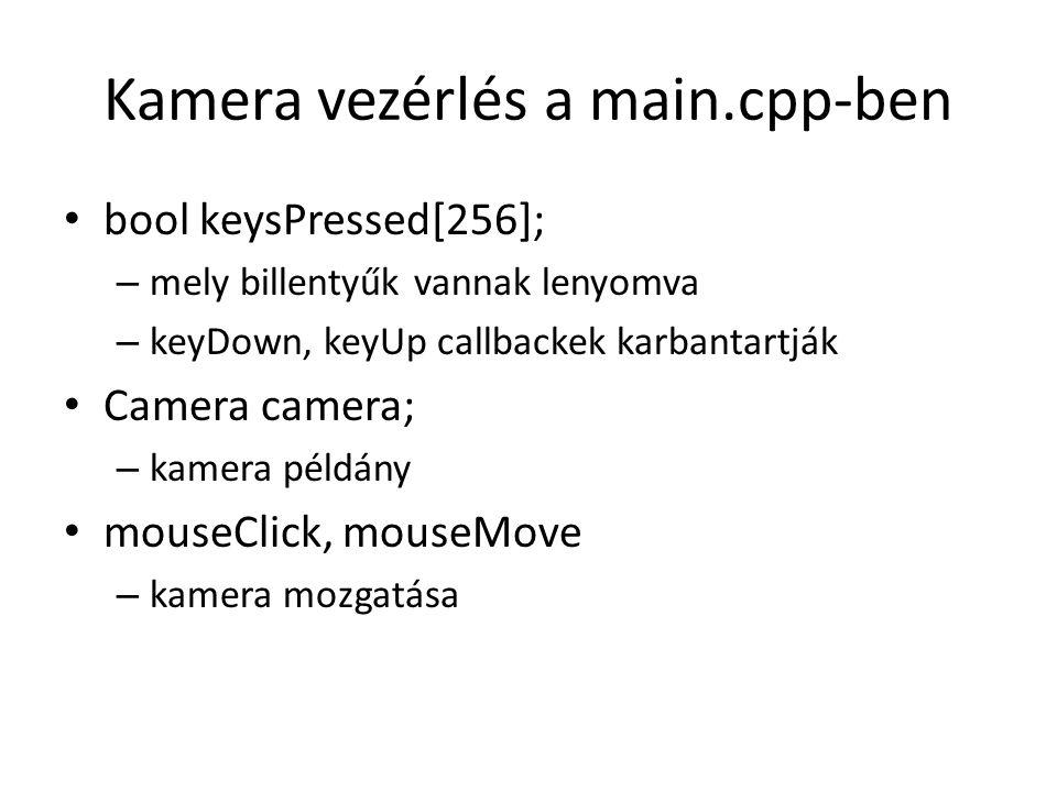 Kamera vezérlés a main.cpp-ben bool keysPressed[256]; – mely billentyűk vannak lenyomva – keyDown, keyUp callbackek karbantartják Camera camera; – kamera példány mouseClick, mouseMove – kamera mozgatása