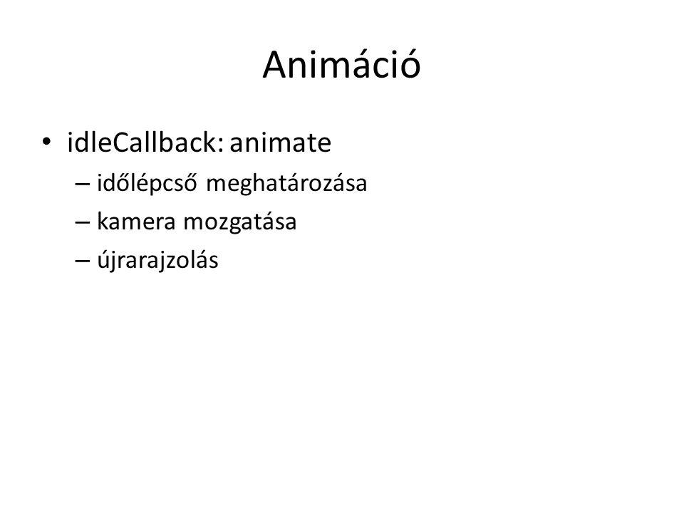 Animáció idleCallback: animate – időlépcső meghatározása – kamera mozgatása – újrarajzolás