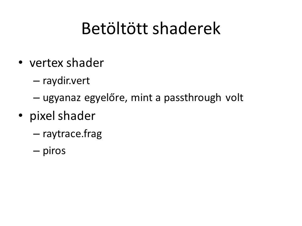 Metszésszámító segédfv pixel shaderhez I vec2 intersectQuadric(mat4 A, vec4 o, vec4 d, vec2 tMinMax, out bvec2 visible) visszaadja a két metszéspont t-jét sorrendben ha kilóg a tMinMax.x és tMinMax.y közötti tartományból akkor levágja – visible true, ha nem kellett levágni