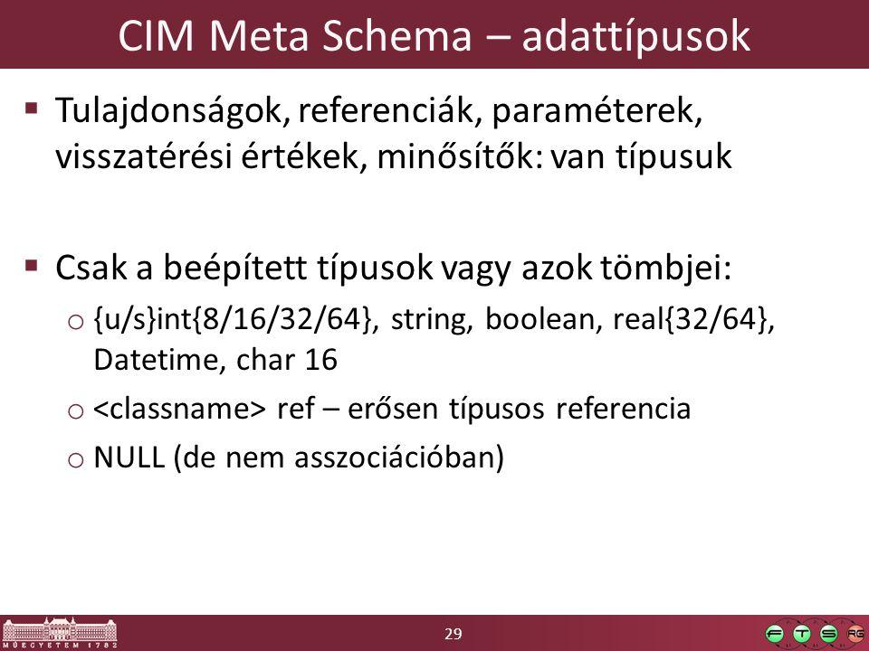 29 CIM Meta Schema – adattípusok  Tulajdonságok, referenciák, paraméterek, visszatérési értékek, minősítők: van típusuk  Csak a beépített típusok vagy azok tömbjei: o {u/s}int{8/16/32/64}, string, boolean, real{32/64}, Datetime, char 16 o ref – erősen típusos referencia o NULL (de nem asszociációban)