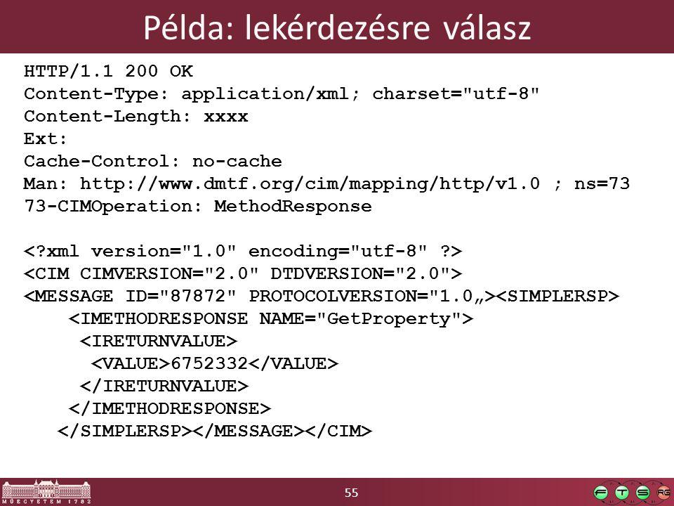 55 Példa: lekérdezésre válasz HTTP/1.1 200 OK Content-Type: application/xml; charset= utf-8 Content-Length: xxxx Ext: Cache-Control: no-cache Man: http://www.dmtf.org/cim/mapping/http/v1.0 ; ns=73 73-CIMOperation: MethodResponse 6752332