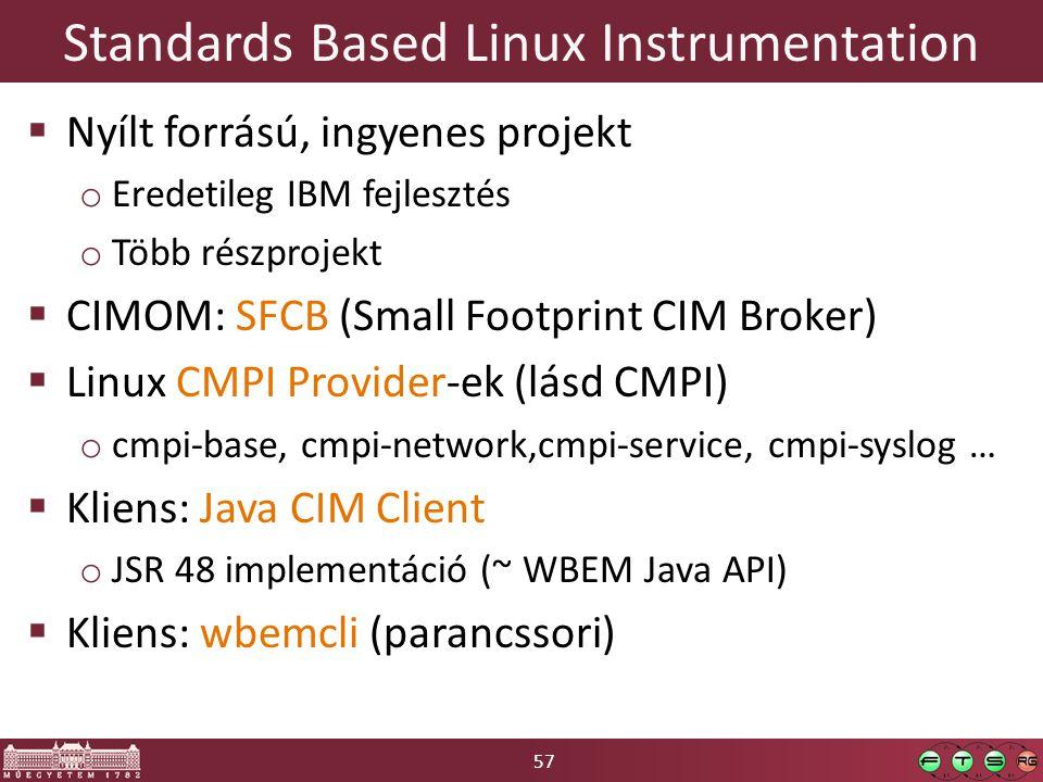57 Standards Based Linux Instrumentation  Nyílt forrású, ingyenes projekt o Eredetileg IBM fejlesztés o Több részprojekt  CIMOM: SFCB (Small Footprint CIM Broker)  Linux CMPI Provider-ek (lásd CMPI) o cmpi-base, cmpi-network,cmpi-service, cmpi-syslog …  Kliens: Java CIM Client o JSR 48 implementáció (~ WBEM Java API)  Kliens: wbemcli (parancssori)