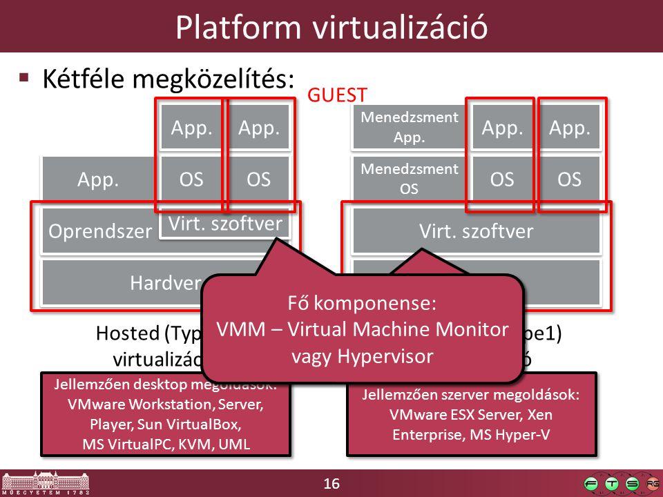 16 Platform virtualizáció  Kétféle megközelítés: Hardver Oprendszer Virt.