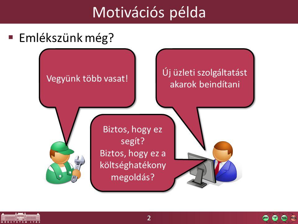 2 Motivációs példa Új üzleti szolgáltatást akarok beindítani Vegyünk több vasat.
